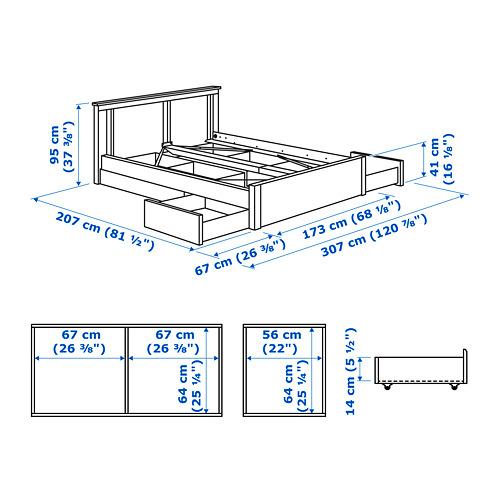 SONGESAND lovos rėmas su 4 stalčiais