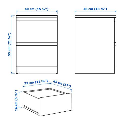 MALM komoda su 2 stalčiais