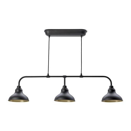AGUNNARYD griestu lampa ar 3 spuldzēm, 22x27 cm, melnā krāsā