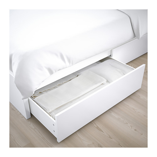 MALM aukštas lovos rėmas su 2 stalčiais