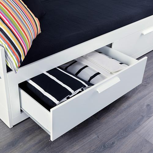 BRIMNES gultas rāmis ar 2 atvilktnēm
