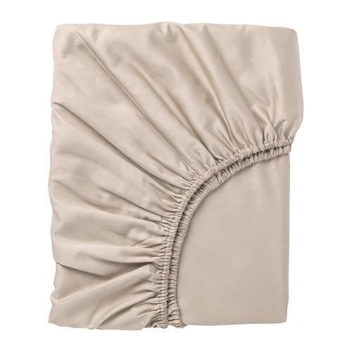 NATTJASMIN palags ar gumiju, 180x200 cm,  gaišā smilškrāsā
