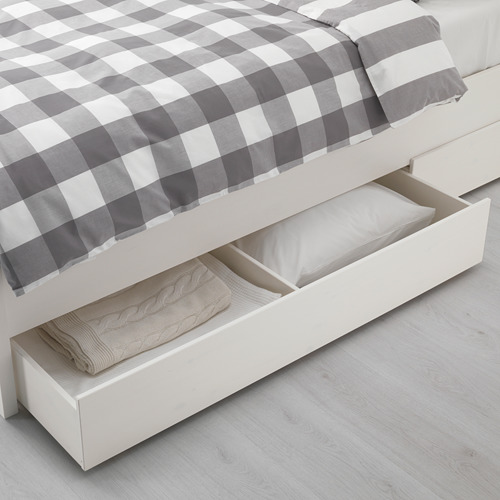 HEMNES bed frame with 4 storage boxes