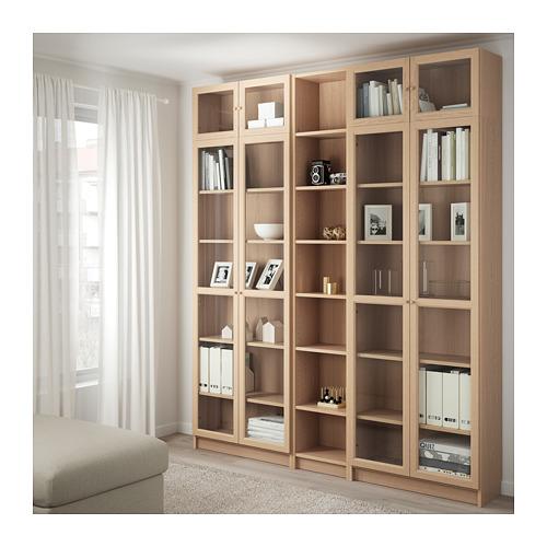 BILLY/OXBERG knygų spinta su stiklinėmis durimis