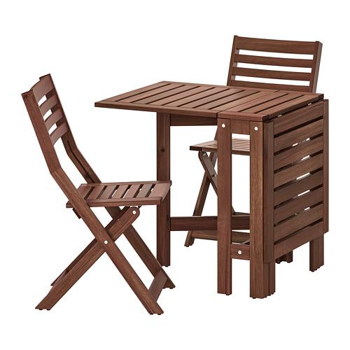 ÄPPLARÖ galds+2 saliekamie krēsli, āra