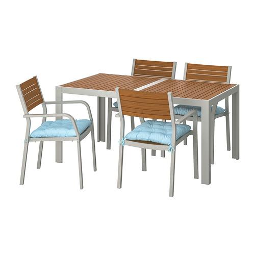 SJÄLLAND lauko stalas+4 kėdės su porankiais