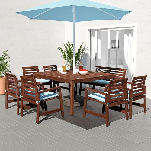 ÄPPLARÖ stalas+6 kėdės su por.+suol., lauko