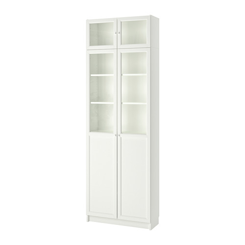 BILLY bookcase w hght ext ut/pnl/glss drs