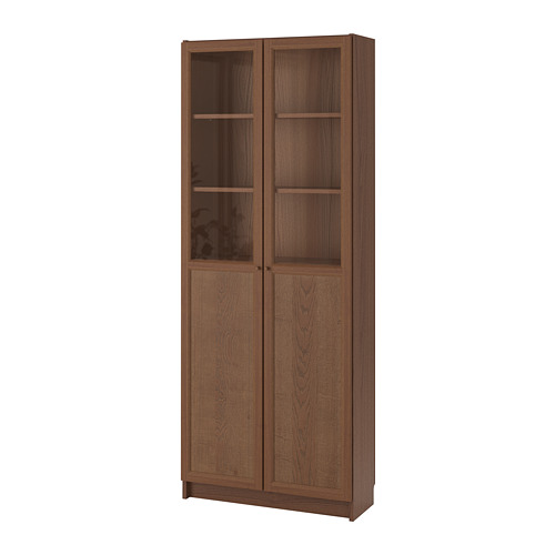 BILLY bookcase with panel/glass doors