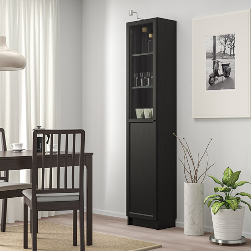 OXBERG/BILLY bookcase with panel/glass door