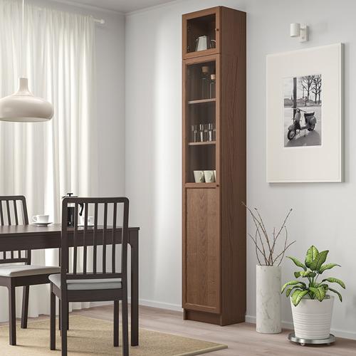 BILLY/OXBERG bookcase w hght ext ut/pnl/glss drs