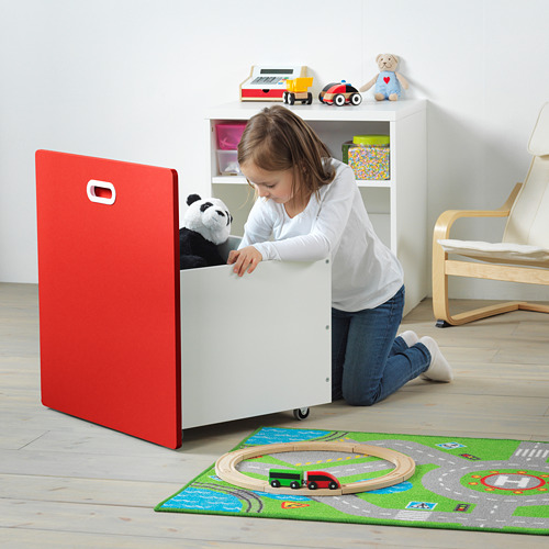 FRITIDS/STUVA kaste uz ritentiņiem rotaļl. glab.