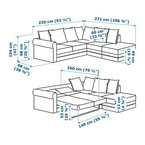GRÖNLID četrvietīgs stūra dīvāns