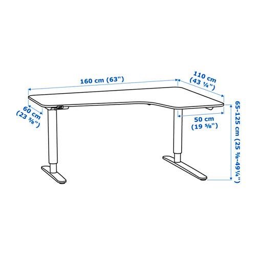 BEKANT keičiamo aukščio kam. stalas, deš.