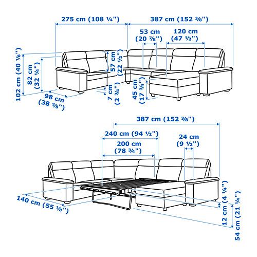 LIDHULT sešvietīgs stūra guļamdīvāns