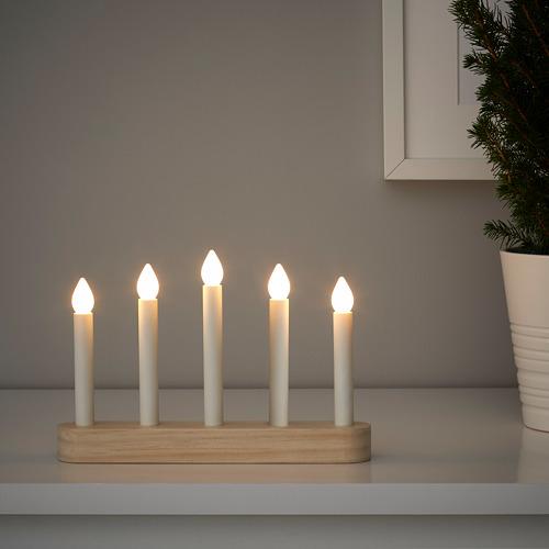 STRÅLA LED svečturis ar 5 svecēm, 4x23x15 cm, darbojas ar baterijām/priežkoks