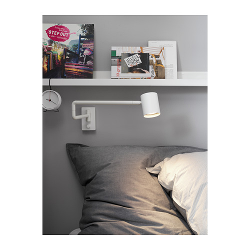 NYMÅNE wall lamp w swing arm, wired-in
