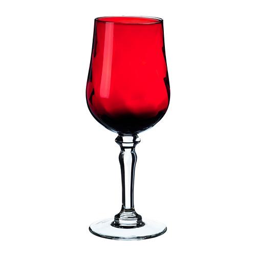 VINTER 2020 vīna glāze, 19 cm stikls/sarkanā krāsā