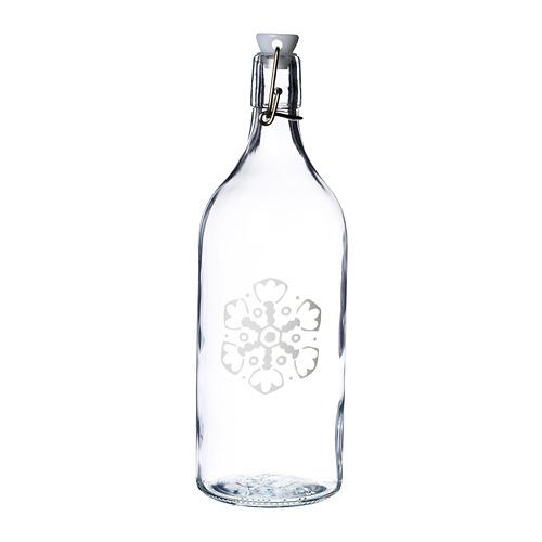 VINTER 2020 pudele ar aizbāzni, 1l, stikls/sniegpārslu motīvi baltā krāsā