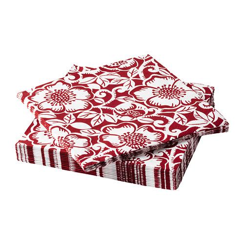 VINTER 2020 papīra salvetes, 33x33 cm, Melnās ziemziedes raksts sarkanā un baltā krāsā, 30gb.