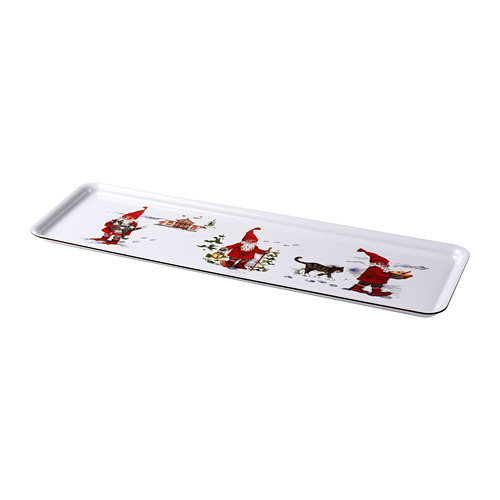 VINTER 2020 paplāte, 50x16 cm, Ziemassvētku vecīša motīvi balta/sarkana