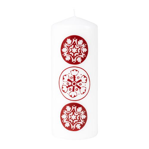 VINTER 2020 svece, 20x Ø7.8 cm,sniegpārslu motīvi balta/sarkana