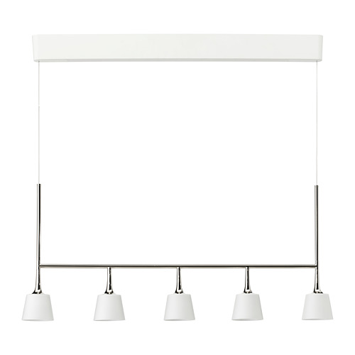 TYBBLE Iekaramā LED lampa ar 5 spuldzēm, 97x100 cm niķelēts/pienbaltā krāsā stikls