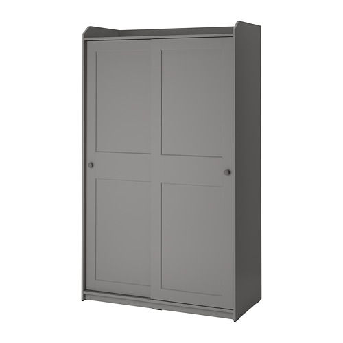 HAUGA skapis ar bīdāmām durvīm, 118x55x199 cm pelēkā krāsā