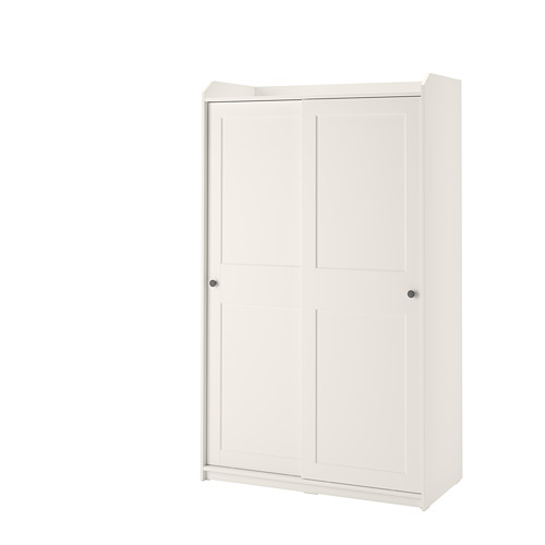 HAUGA skapis ar bīdāmām durvīm, 118x55x199 cm, balts