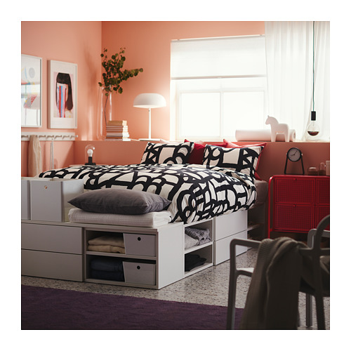 PLATSA gultas rāmis ar 4 atvilktnēm