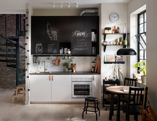 Living single: a kitchen in one-room loft apartment