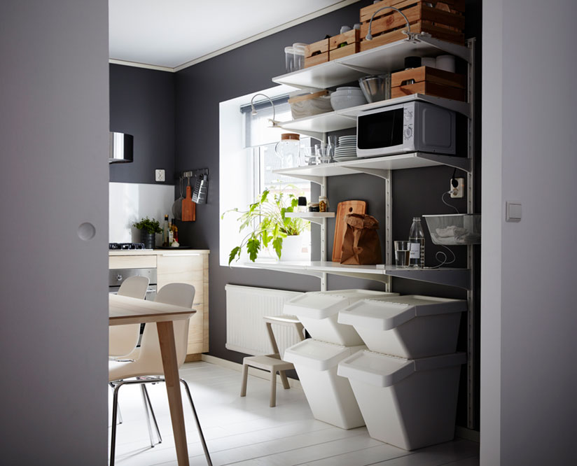 A couple's kitchen for sorting and storing