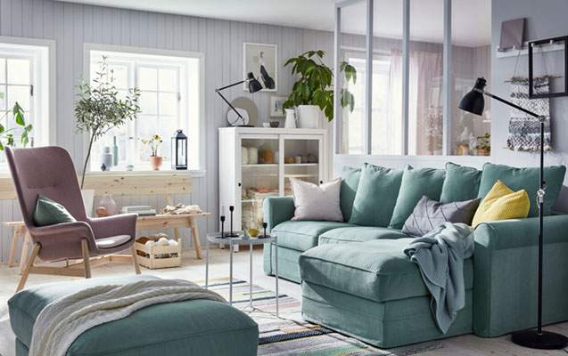 Scandinavian modern living room for two