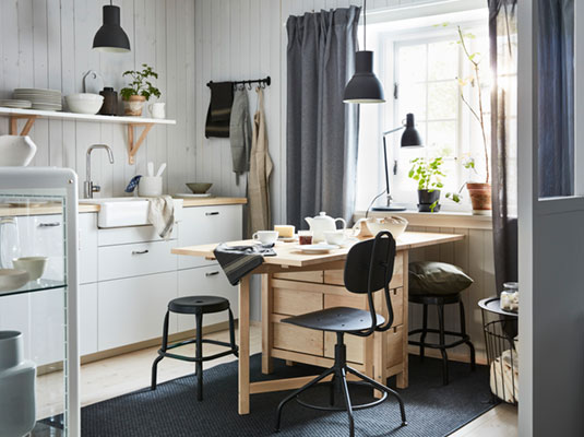 Living together: a kitchen with small dining area