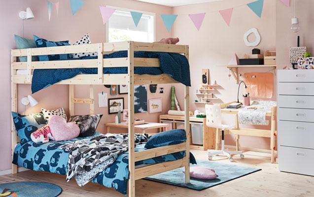 Pastelinis mergaičių kambarys