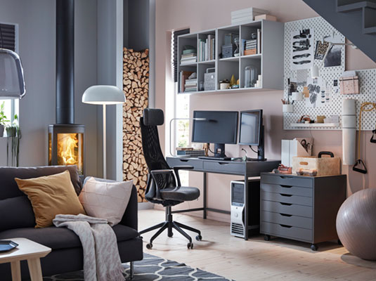 A modern home office for a single woman